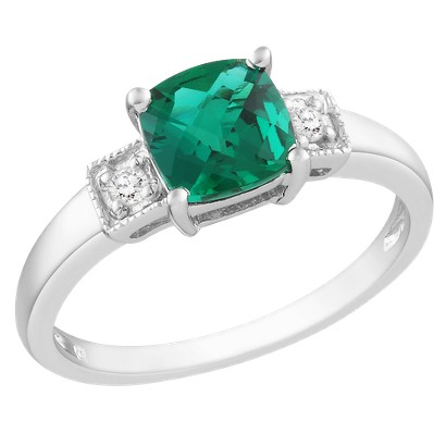 1 Carat Created Emerald and Diamond Accent Fashion Ring in Sterling Silver