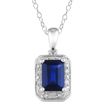 1.59 Carat Created Sapphire and Diamond Accent Pendant in Sterling Silver, HIJ