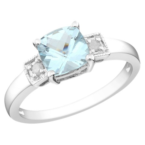 4/5 Carat Aquamarine and Diamond Accent Fashion Ring in Sterling Silver