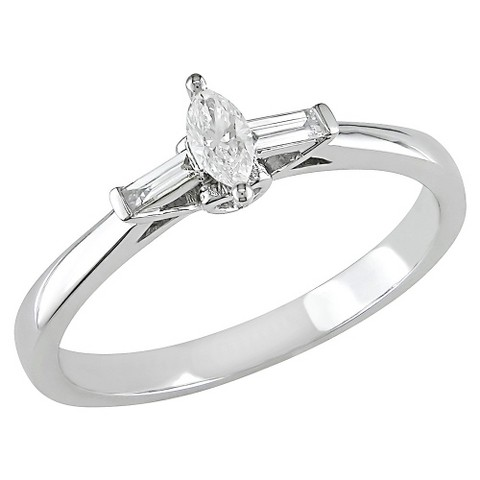 1/4 carat Diamond Engagement Ring in 10k White Gold GHI I1;I2