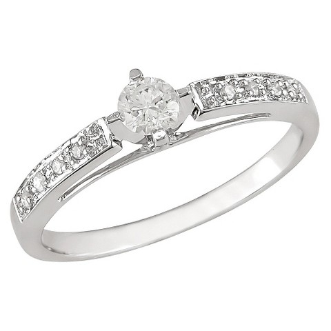 1/4 carat Diamond Engagement Ring in 10k White Gold GHI I2;I3