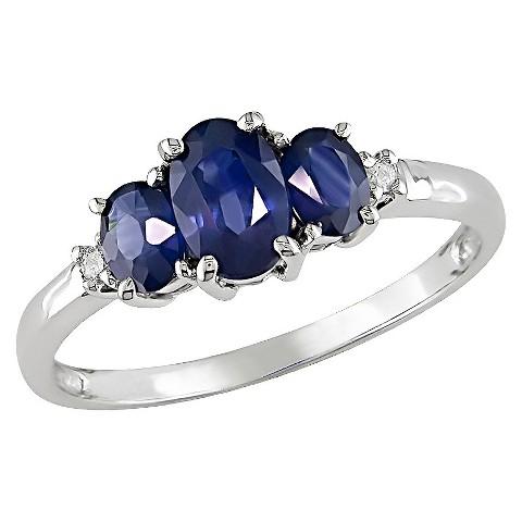 10K White Gold, .02-Carat Diamond & 1-Carat Sapphire GHI I2, I3 3-Stone Ring