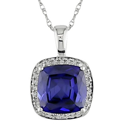 0.1-Carat Diamond and 3.25-Carat Created Sapphire in 10K White Gold Fashion Pendant with Chain