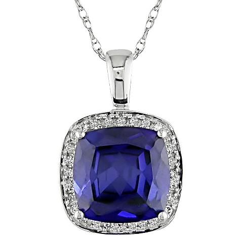 Allura  0.1 CT. T.W. Diamond and 3.25CT. T.W. Created Sapphire Fashion Pendant in 10K White Gold