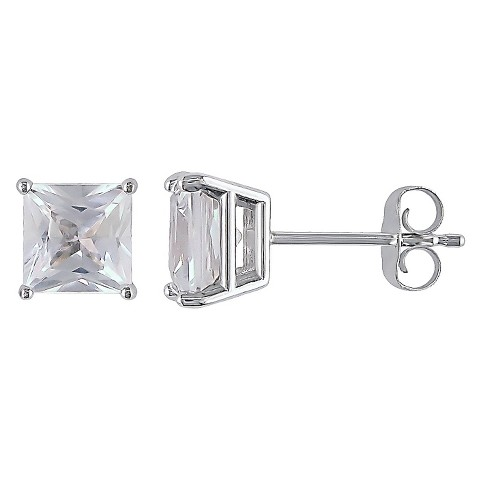 Allura  2 CT. T.W. Square Created White Sapphire Solitaire Earrings in 10K White Gold (5.5mm)