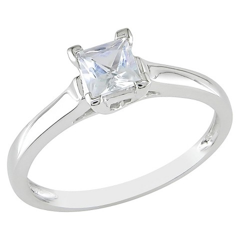 0.59 carat Created White Sapphire Solitaire Ring 10k White Gold
