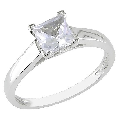 1.07 carat Created White Sapphire Solitaire Ring 10k White Gold