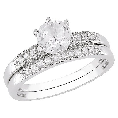 Diamond and Created White Sapphire 10k White Gold Engagement & Wedding Ring Set