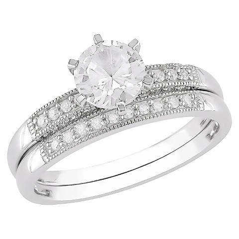 Diamond and Created White Sapphire 10k White Gold Engagement & Wedding Ring Set