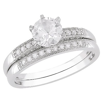 Allura 0.33 CT. T.W. Diamond and 1.375 CT. T.W. Created White Sapphire in 10K White Gold Engagement and