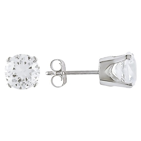 Allura  2.6 CT. T.W.  Round Created White Sapphire Solitaire Earrings in 10K White Gold