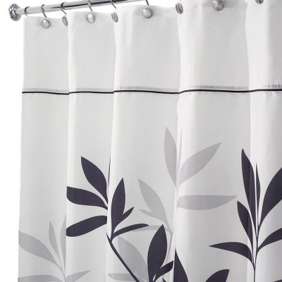 "InterDesign Leaves Shower Curtain - Black/Gray (54x78"")"