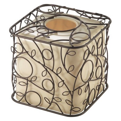 InterDesign Twigz Boutique Tissue Box Cover - Vanilla/Bronze