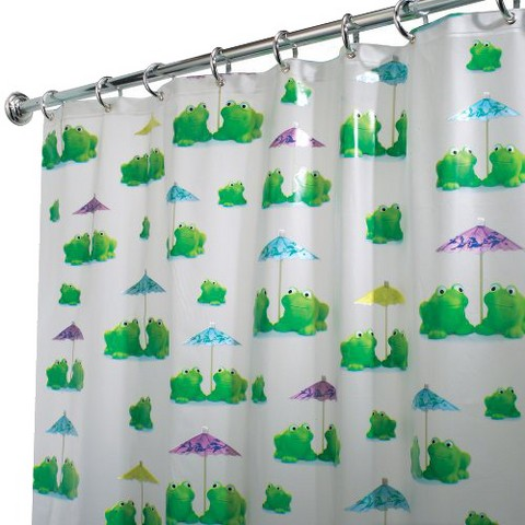 "InterDesign Frogs Shower Curtain - White/Green (72x72"")"