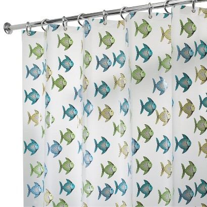 Interdesign fishy shower curtain blue green 72x72 quot product details
