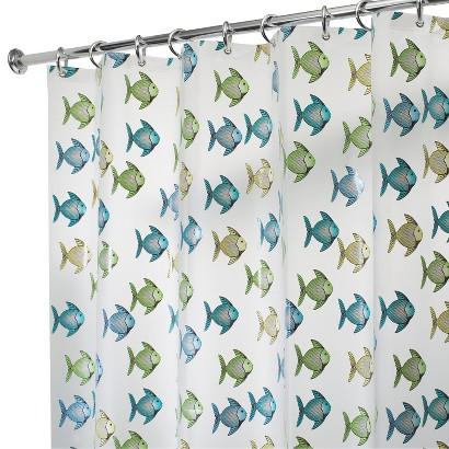 "InterDesign Fishy Shower Curtain - Blue/Green (72x72"")"
