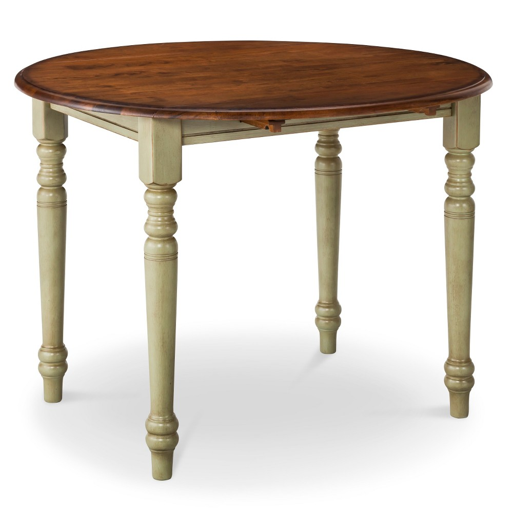 Mulberry 42 two tone round distressed drop leaf table for 42 dining table with leaf