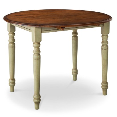 "Mulberry 42"" Two-Tone Round Distressed Drop-Leaf Table"