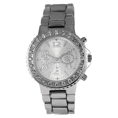 Silver Finish Bracelet Silver Round Case Silver Dial Watch With Stones