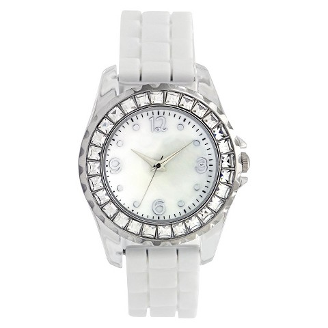 White Polyurethane Rubber Strap Silver Round Case White Mother Of Pearl Dial Watch With Stones