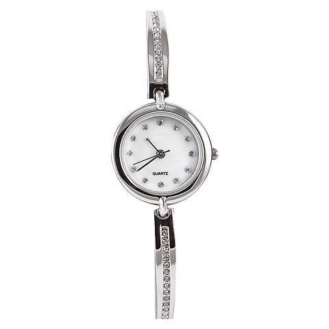 Silver Finish 1/2 Bangle/Bracelet Round Silver Case White Mother Of Pearl Dial Watch With Stones