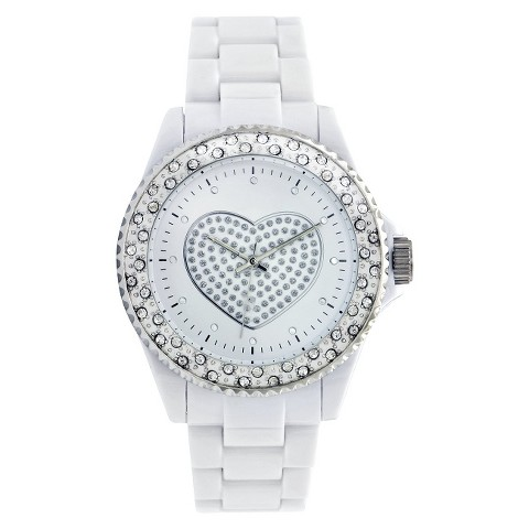 White Polyurethane Bracelet Round Case White Dial With Glitter Heart Watch With Stones
