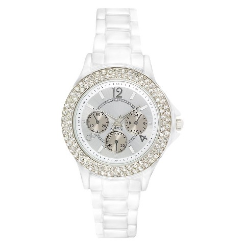 White Spray Round Case Faux Silver 3-Eye Dial Bracelet Watch with Stones
