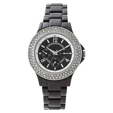 Black Bracelet Round Case Black Dial Watch With Stones