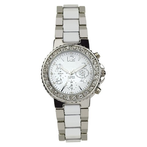 Silver Finish With White Inlay Bracelet Silver Round Case White Dial Watch With Stones