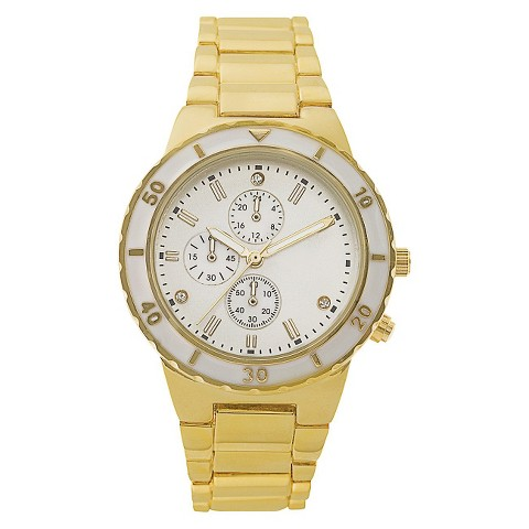 Round Mother Of Pearl Dial Case Gold Finish Bracelet Watch