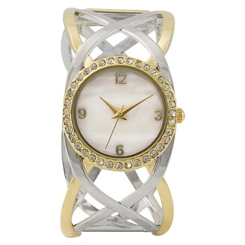 Two Tone Bangle Round Case Mother Of Pearl Dial Watch With Stones