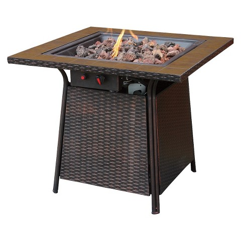 Propane Fire Pit with Square Ceramic Tiles - 32""