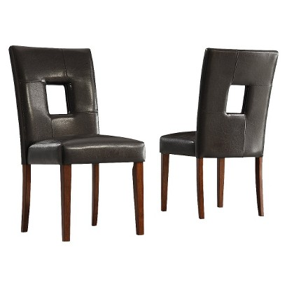 2 Piece Palma Faux Leather Chair - Dark Brown