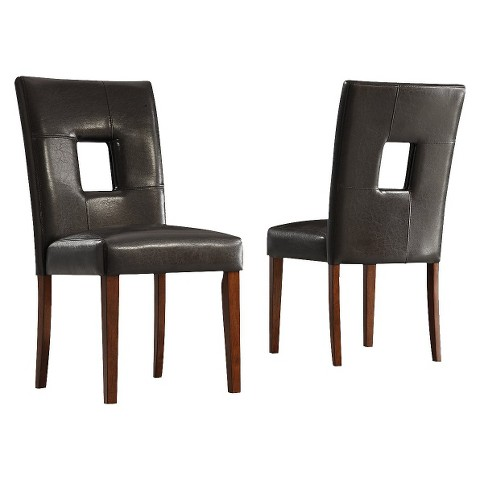 Palma Faux Leather Dining Chair Wood/Dark Brown (Set of 2) - Homelegance