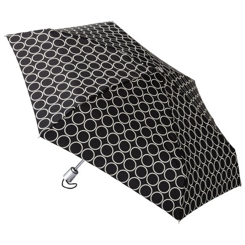 totes® Mini Auto Open Umbrella - Black Metro Dot