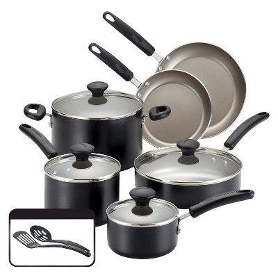 Farberware Aluminum 10 Piece Cookware Set - Black