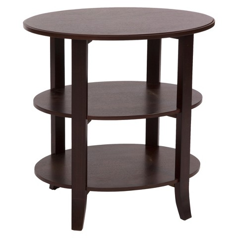 TMS 3 Tier Oxford Oval End Table - Espresso