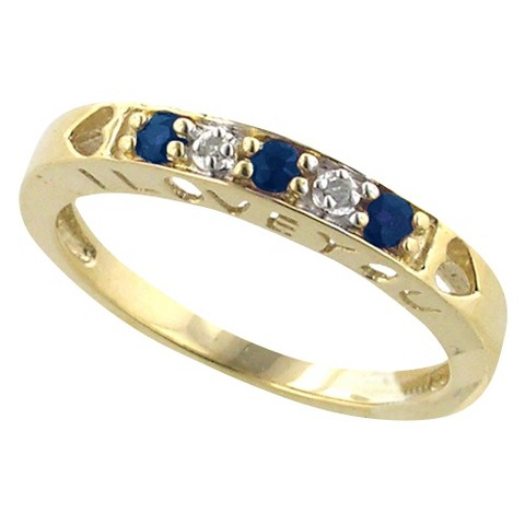 10k Gold Sapphire And Diamond Ring