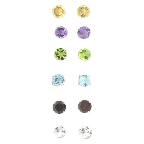 6 Pair Gemstone Stud Sterling Silver Earrings Set