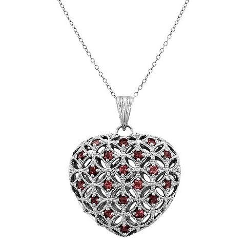 Sterling Silver Heart Pendant Necklace - Silver
