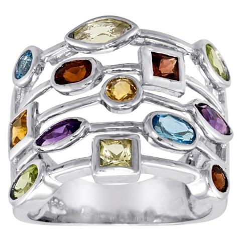 Sterling Silver 1.3 CT. T.W. Multi Gemstone Ring