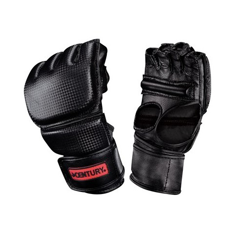 Century Men's Open Palm Gloves with Clinch Strap  - Black/Red (