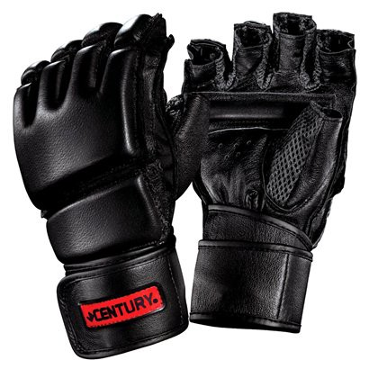 Century Men's Leather Wrap Gloves w/Clinch  - Black/ Red (Medium/ Large)