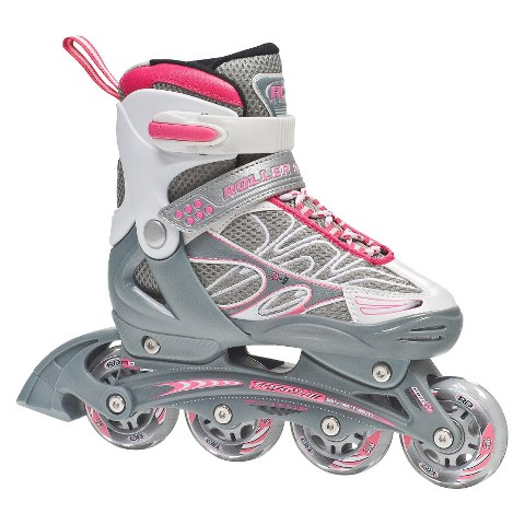 Roller Derby ZX-9 Girl's Skate Pack - Pink/Silver/White