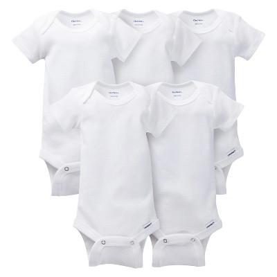 Gerber® Onesies® Newborn 5 Pack Short-Sleeve Bodysuit - White 12 months