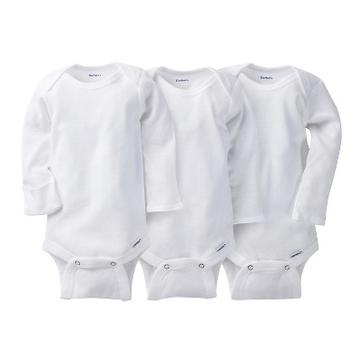 Gerber® Onesies® 3 Pack Long-Sleeve Onesies - White 0-3 M