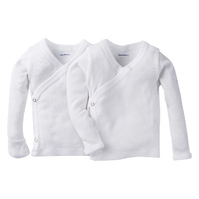 Gerber® Newborn White Long-Sleeve 2pk Sidesnap Shirt 0-3M