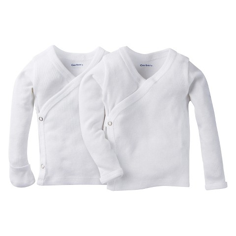 Gerber® Newborn White Long-Sleeve 2pk Sidesnap Shirt