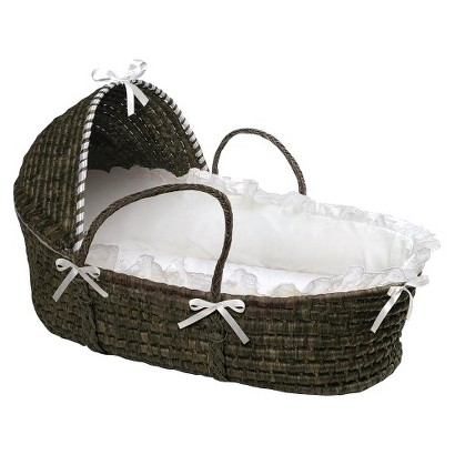 Badger Basket Hooded Moses Basket - White/Espresso
