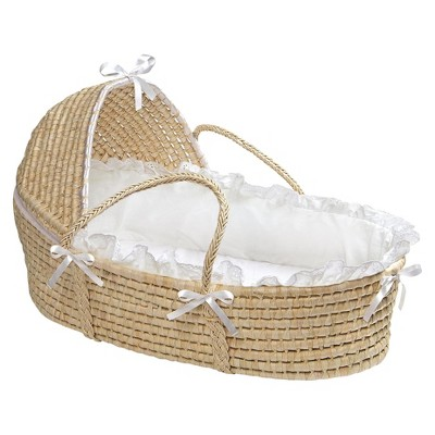 Badger Basket Hooded Moses Basket - Natural/White